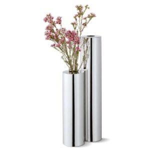 zwei längliche Vase verchromt